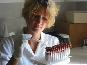 Medical student preparing samples